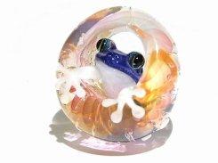 足音 九 【 kengtaro ケンタロー 】 水たまりに広がる小さな波紋 ボロシリケイトガラス 職人 作家 蛙 かえる フロッグ 一点 カラフル 芸術 個性的