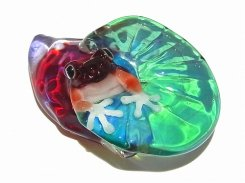 水辺【 kengtaro / ケンタロー 】  カエル ボロシリケイトガラス 職人 作家 蛙 かえる フロッグ 一点 カラフル 芸術 個性的 かわいい おしゃれ