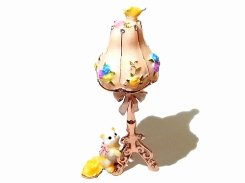 『 マリーのスタンドランプ 』(ピンク) 【 ピィアース Piearth Japan 】アクセサリー ジュエリー ボックス 置物 インテリア 動物 アニマル かわいい モチーフ オブジェ ネコ 猫