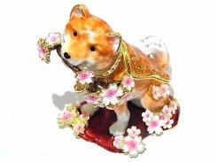 『 桜犬 ジュエリーボックス 』【 ピィアース Piearth Japan 】アクセサリー ジュエリー 置物 インテリア かわいい モチーフ オブジェ ケース 動物 イヌ 花 フラワー