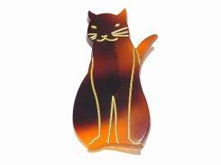 flat cat ブローチ (カラー:べっ甲) 【 Luccica / ルチカ 】【メール便送料無料】 猫 ネコ キャット アニマル 動物 アクセサリー カワイイ シンプル ねこ モチーフ