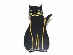 flat cat ブローチ (カラー:ブラック) 【 Luccica / ルチカ 】【メール便送料無料】 猫 ネコ キャット アニマル 動物 アクセサリー カワイイ シンプル ねこ モチーフ