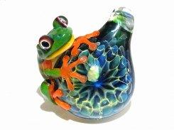 空 (アカメアマガエル) 七 【 kengtaro / ケンタロー 】 ブラックオパール ボロシリケイトガラス 職人 作家 蛙 かえる フロッグ 一点 カラフル モチーフ