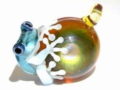 月虹 (げっこう) 四 【 kengtaro ケンタロー 】 カエル 蛙 フロッグ モチーフ ボロシリケイトガラス 職人 作家 カラフル 芸術 個性的 チャーム