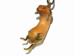 吊られフェレット ネックレス (木&真鍮)【馴鹿/Jun-Roku】 かわいい ウッド 樹 木 動物 アニマル どうぶつ フェレット   ハンドメイド