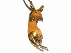 兎のネックレス(木&真鍮)「 吊られウサギ2 」【 馴鹿 / Jun-Roku 】 ジュンロク ウッド うさぎ 兔 ラビット アクセサリー ジュエリー