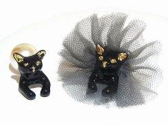 プリマドンナキャットパール ピアス (ブラック)【 KAZA / カザ 】【 メール便 送料無料 】 ネコ ねこ 猫 アニマル かわいい モチーフ 動物 アクセサリー レディース