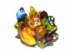 栗鼠のリング (弐) 森の約束 〜りす編〜【 Wadou-koubou / 和道工房 】 りんごの森の小さな住人シリーズ リス りす アニマル 動物 かわいい どんぐり 蝶