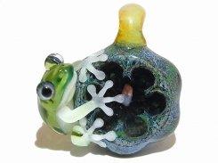 石とぼく【 kengtaro / ケンタロー 】ペンダントトップ  カエル ボロシリケイトガラス 職人 作家 蛙 かえる フロッグ 一点 カラフル 芸術 個性的 かわいい