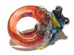 入梅 九 【 kengtaro / ケンタロー 】 梅雨の頃合い ボロシリケイトガラス 職人 作家 蛙 かえる フロッグ 一点 カラフル 芸術 個性的 リング シーズン 季節