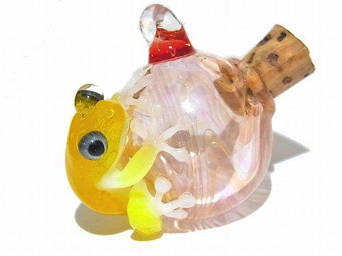 『 つぼ カエル (参)』【 kengtaro ケンタロー 】  カエル ボロシリケイトガラス 職人 作家 蛙 かえる フロッグ 一点 カラフル 芸術 個性的 かわいい おし…