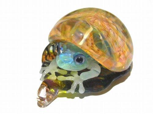 Frog in the Shell 四【 kengtaro / ケンタロー 】  カエル ボロシリケイトガラス 職人 作家 蛙 かえる フロッグ 一点 カラフル 芸術 個性的 かわいい おし…