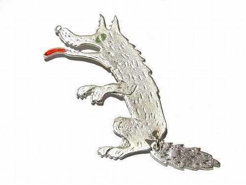 腹ペコオオカミ ブローチ (シルバーウルフ) 【 Luccica / ルチカ 】【 メール便 送料無料 】 狼 おおかみ アクセサリー おもしろ カワイイ 個性的 アニマル 動物