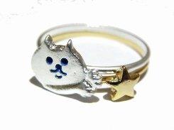 チラねこ リング (アンティークSV×GD星) 【 Luccica / ルチカ 】【 メール便 送料無料 】 星 スター 猫 ねこ アニマル 動物 カワイイ アクセサリー ジュエリー 指輪