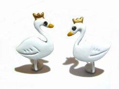 王冠スワン イヤリング (ホワイト)【Luccica ルチカ】【メール便送料無料】かわいい おもしろ アクセサリー 個性的 鳥 バード キング メルヘン モチーフ