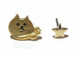 『 チラねこ ピアス 』 (MATGD×GD星)【 Luccica ルチカ 】 ネコ ねこ キャット アニマル 動物 かわいい おもしろ アクセサリー 大人可愛い コーデ