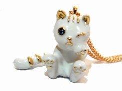 ウインクキャットミルキー ネックレス 【 KAZA / カザ 】【 メール便 送料無料 】 猫 ねこ キャット シロネコ アニマル 動物 レディース アクセサリー