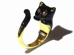 黒ネコ巻き付き リング 【 KAZA / カザ 】【 メール便 送料無料 】 ねこ 猫 キャット アニマル 動物 アクセサリー レディース 大人可愛い