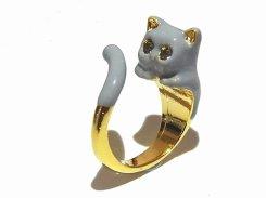 グレーキャット巻き付き リング 【 KAZA / カザ 】【 メール便 送料無料 】 ねこ 猫 キャット アニマル 動物 アクセサリー レディース 大人可愛い