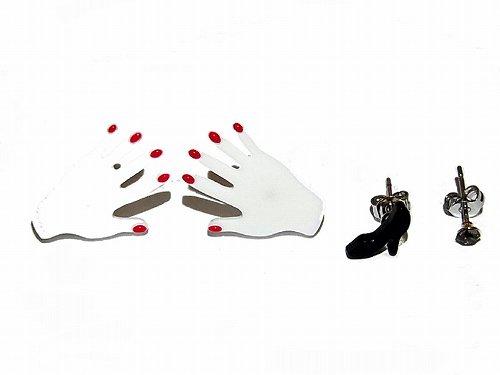 hand セットピアス(ホワイト)【Luccica/ルチカ】【ゆうメール送料無料】手 ハンド 靴 ヒール ユニーク 個性的 おもしろ 珍しい 楽しい レディース