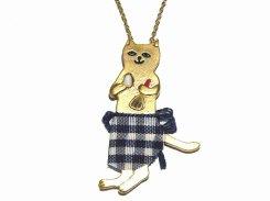 エプロンネコ ネックレス【 Luccica ルチカ 】【メール便送料無料】 猫 ねこ キャット アクセサリー レディース 大人可愛い