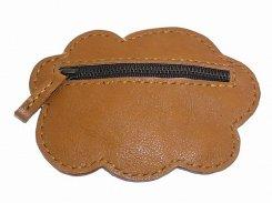 どこでもポケット ブローチ  ( くも ・ キャメル  )【 もりや ゆか 】 ハンドメイド レザーアクセサリー レディース 手作り 牛革 革製品 小物 手仕事 かわいい 曇り 収納