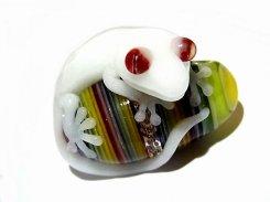 守 五 【 kengtaro / ケンタロー 】 白 守宮 ヤモリ ボロシリケイトガラス 職人 作家 一点 カラフル 芸術 個性的 ホワイト カラフル 特別