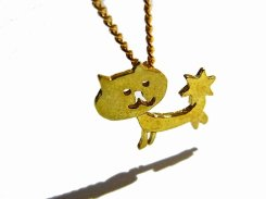 ほしねこ ネックレス【 thuthu appetizing accessories / nupi 】 ハンドメイド 真鍮 アクセサリー cat accessoies necklace