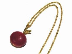 ガラスのりんご ネックレス(赤)【thuthu appetizing accessories/nupi】 ハンドメイド 真鍮 アクセサリー お洒落 かわいい