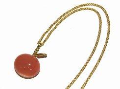 ガラスのりんご ネックレス(ピンク)【thuthu appetizing accessories/nupi】 ハンドメイド 真鍮 アクセサリー accessoies necklace
