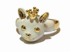 クラウンK キャット リング (ホワイト) 【 KAZA カザ 】【 メール便 送料無料 】 ねこ ネコ 猫 アニマル 動物 アクセサリー モチーフ