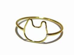 金色の輪郭 ねこリング (5号)【Tiny tail タイニーテイル】 真鍮 猫 アクセサリー アニマル 猫好き キャット シンプル ドレス キュート