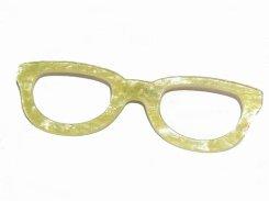 淡色めがね ブローチ(イエロー)【 Luccica ルチカ】縁眼鏡 伊達眼鏡 アクセサリー かわいい パステルカラー マカロンカラー