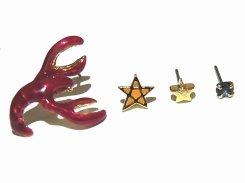 ロブ・スター ピアス 【 Luccica ルチカ 】【メール便送料無料】 可愛い アクセサリー 海 マリン 海老 ロブスター 星 レディース  スタッド 可愛い 人気 ユニーク 個性的