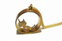 ぬぴのすがた ネックレス【 thuthu appetizing accessories / nupi 】 ネコ ハンドメイド 真鍮 アクセサリー かわいい キャット 猫 動物
