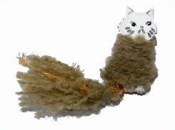 ねこのしっぽ ブローチ  (シルバー)【 Luccica ルチカ 】【 メール便 送料無料 】 アクセサリー 異素材 毛糸 ふわふわ 猫じゃらし 顔 cat キャット 猫  誕生日 プレゼント 女性