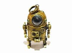 ちびろぼさん ペンダントトップ 【 いもゆで工房  】 真鍮 アクセサリー ジュエリー おもしろ かわいい 遊び心 光る ライト ロボット プレゼント
