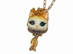 猫の戴冠式 ネックレス (B)【Wadou-koubou/和道工房】 ねこ ネコ キャット
