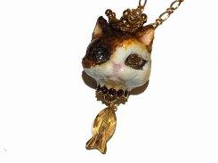 猫の戴冠式 ネックレス (G)【Wadou-koubou/和道工房】 ねこ ネコ キャット
