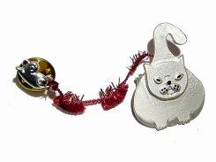 まるねこ ブローチ (シルバー)【 Luccica ルチカ 】【メール便送料無料】 ネズミ 鼠 猫 キャット アニマル 動物 かわいい おもしろ 個性的 ユニーク 誕生日