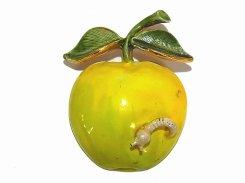 ビンテージ ブローチ 『 黄りんごと青虫 』【1960年代】  アクセサリー ジュエリー かわいい 海外買い付け 古い お洒落 可愛い 輸入