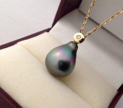 タヒチ 南洋真珠 & ダイヤモンド ネックレス【9K イエローゴールド】