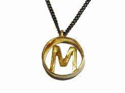 M ネックレス【 thuthu appetizing accessories / nupi 】 ハンドメイド 真鍮 アクセサリー イニシャル