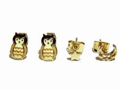 Owl ピアス 【 Luccica ルチカ 】【メール便送料無料】  アクセサリー バード かわいい 鳥 個性的 フクロウ ふくろう ミミズク ムーン 三日月 プレゼント 女性 誕生日