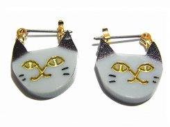 ねこのかお ピアス (グレー)【 Luccica ルチカ 】 ネコ キャット アニマル 動物 かわいい おもしろ アクセサリー 誕生日 プレゼント 女性 雑貨