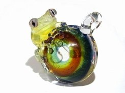 月虹 (げっこう) 六 【 kengtaro ケンタロー 】 カエル 蛙 フロッグ モチーフ ボロシリケイトガラス 職人 作家 カラフル 芸術 個性的 チャーム