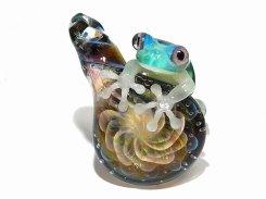 梅雨 四 【 kengtaro / ケンタロー 】 ボロシリケイトガラス 職人 作家 蛙 かえる フロッグ 一点 個性的 アクセサリー ジュエリー ペンダント トップ