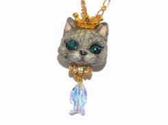 猫の戴冠式 ネックレス (グレー)【Wadou-koubou/和道工房】 ねこ ネコ キャット
