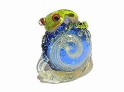 カタツムリ 拾六【 kengtaro ケンタロー 】 カタツムリ カエル ボロシリケイトガラス 職人 作家 蛙 かえる フロッグ 一点 カラフル 芸術 個性的 かたつむり