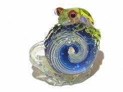 カタツムリ 拾八【 kengtaro ケンタロー 】 カタツムリ カエル ボロシリケイトガラス 職人 作家 蛙 かえる フロッグ 一点 カラフル 芸術 個性的 かたつむり